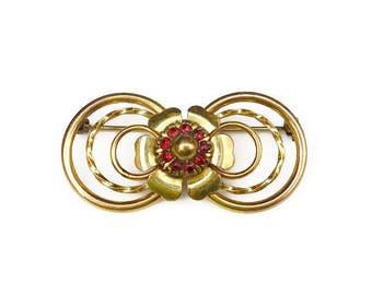 LS Co Gold Filled Red Rhinestone Brooch - Louis Stern, 1/20 12K, Victorian Style, Rhinestone Brooch, Vintage Brooch, Vintage Jewelry