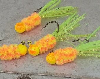 4 Pack Hand Tied Crappie Jigs Silicone Tail 1/16th oz. Crappie Crippler Jigs - Fishing