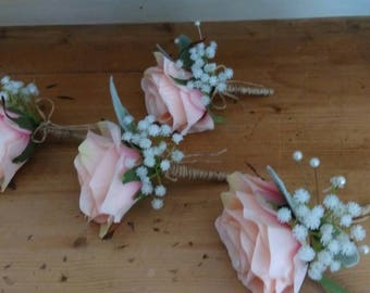 Rustic Wedding Peach Buttonhole. Rose's Gypsophila foliage. Silk wedding flowers. Grooms boutonniere.