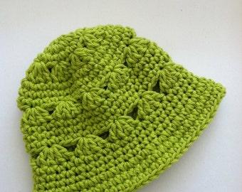 Apple Green Sun Hat, Crochet Baby Hat, Newborn Hat, Baby Hat, Apple Green Baby Hat, Baby Girl Hat, Summer Sun Hat