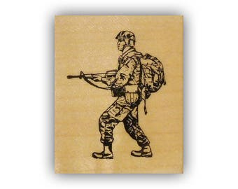 Soldier walking mounted rubber stamp, army, marines, marine, USAF, military, troops, Crazy Mountain Stamps #4