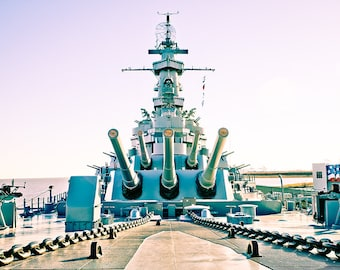 Art Print: USS Alabama, Photography Art Print USA, Historic American Battleship, Mobile AL, Canons and chains in washed color, jc kirk
