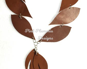 Leather Leaf Necklace with Leaf Tassel, Lightweight Statement Necklace, Wearable Art Necklace