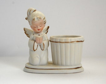 Vintage Angel Figurine, Angel Candle Holder, Christmas Decor,
