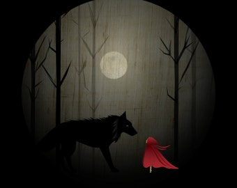 Red Riding Hood & The Wolf Art Print