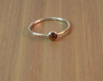 Tiger Eye Ring, Sterling silver ring, tiger eye stacking ring, silver and tiger eye ring, silver stacking ring, stacker