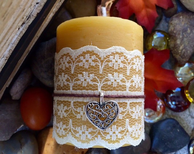 """100% Pure Beeswax pillar candle wrapped in lace w/heart charm on hemp cord-2""""x 3""""beeswax candle-natural candle"""