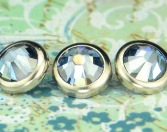 10 Crystal Blue Shade Crystal Hair Snaps - Round Silver Rim Edition -- Made with Swarovski Crystal Element Rhinestones
