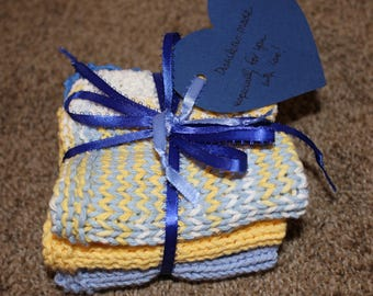 Dishcloths- Hand-knit Set of 3 in yellow and blue