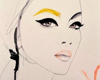 Bearer  - Fashion Illustration Art Print, Woman, Portrait, Mix Media Painting by Leigh Viner