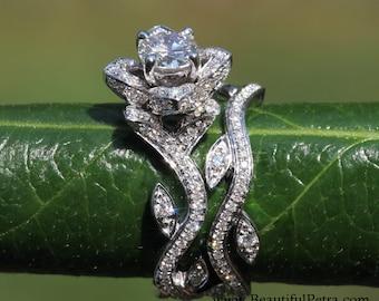 BLOOMING Work Of Art - 14k Flower Leaf Rose Lotus Diamond Engagement Wedding Ring Set - Leaves on the band - brides - fL07- Patented design