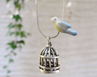 Free Bird and a Cage Necklace - Freedom