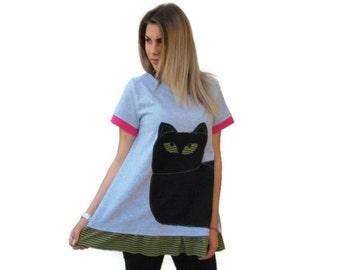 Gray loose  top / Organic Cotton top / asymmetric women top / black cat summer top / one size loose top