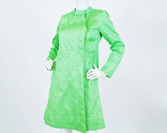 SALE French Designer 1960's Vintage Mod Lime Green Gold Metallic Threading Quilted Satin Spring Coat
