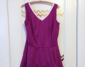 Cute Purple and White Vintage Swimsuit Romper