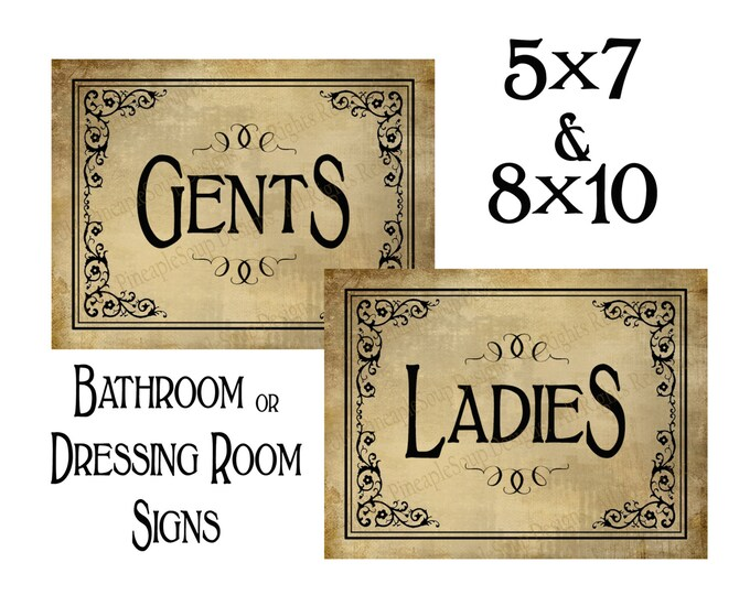 Printable Ladies & Gents Bathroom or Dressing Room signs - DIY instant download and print yourself - Vintage Black Tie Collection