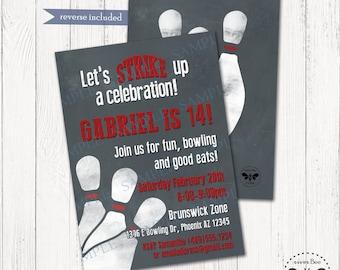 Bowling Birthday Invitation Printable, DIGITAL Bowling Party Invite, Bowling Birthday Invite, Bowling Party