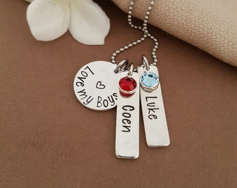 Love My Boys Mommy Necklace | Mother Of Boys Gift | Gift For Mom Of Boys | Mommy Jewelry
