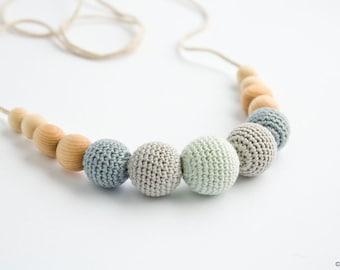 Petite Nursing Necklace - Gray&Mint, Juniper - Teething Necklace, New Baby Gift, New Mom Necklace - N005