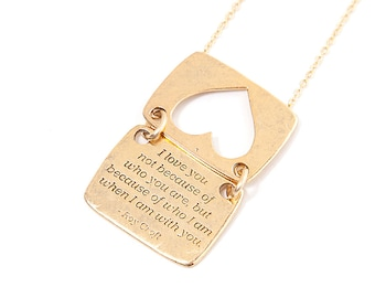 """Heart Necklace in Gold -  """"I Love You"""" Quote, Inspirational message, Love Notes Collection"""