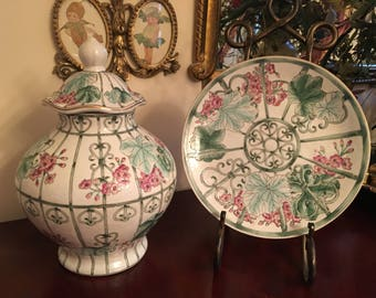 Incredible matching set of Chinoiserie pink and green geraniums plate and ginger jar