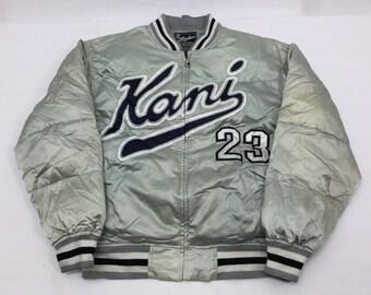 Vintage KARL KANI JEANS #23 Designer Spellout Logo Hip Hop Baseball Bomber Jacket Sz Large