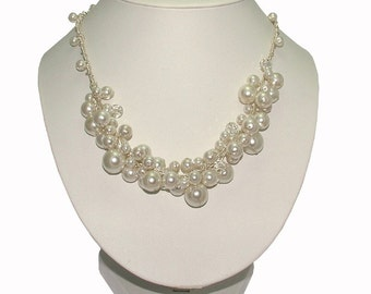 Bubble Necklace, pearl cluster necklace