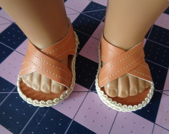 "Arizona Brown  - 18"" Doll Sandals-Shown on my american girl doll"