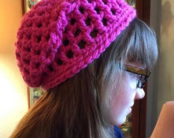 Bright Pink Mesh Slouchy Beanie--child size