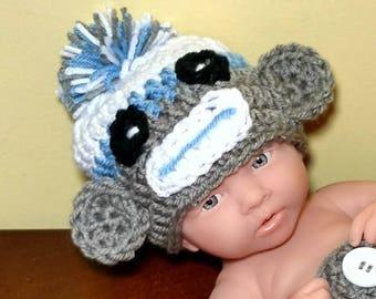 Baby Boy Sock Monkey Hat Newborn Boy Photo Prop Baby Child Adult Sock Monkey Hat Crochet Baby Boy crochet newborn sock monkey hat