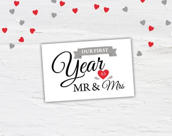 First Wedding Anniversary Gift, Paper Anniversary, First Year as Mr & Mrs, printable