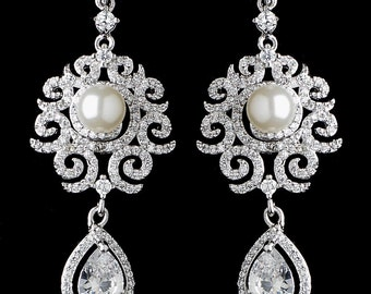 Vintage Style Sparkly Cubic Zirconia And Pearl Dangle Earrings, Wedding Jewelry, Bridal Earrings, Wedding Earrings