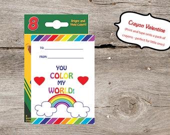 Instant Download - DIY Crayon Valentines Printable Card
