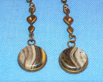 Rare brown honey opals from Turkey set in brass - dangle earrings.  12 mm diameter