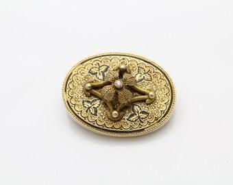 Antique Solid Gold 12K Victorian Diamond & Black Enamel Pendant Brooch. [29]