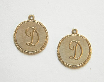 Raw Brass Letter D Charm Monogram Initial Drop 20m x 22mm - 4 pcs. (r259)