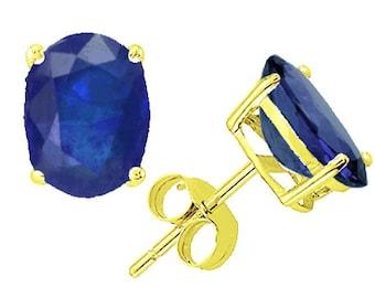 blue sapphire earrings 14k yellow gold