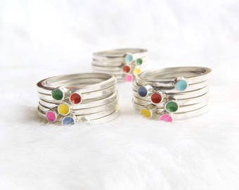 Stacking rings- Silver stacking ring set- Rainbow stacker - Stackable rings- Gift for her- Gift idea- Silver rings- Jewellery by Juna- Rings