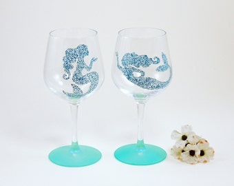 Mermaid wine glasses / Beach Nautical Coastal glasses / Set of 2 hand painted stemmed glasses / Sea Glass Collection