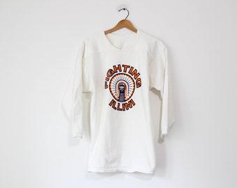 Vintage White University of Illinois Fighting Illini Long Sleeve T Shirt