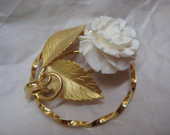 Rose Flower White Gold Brooch Vintage Pin Karl Lagerfeld