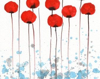 Watercolor Painting: Watercolor Flower Painting -- Art Print --  Sun Kissed -- Red Flowers -- 11x14
