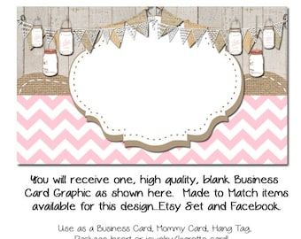 DIY Custom PreMade Business Cards - In the Pink - Etsy Custom Template Made to Made Facebook and Etsy Store Set Also Available