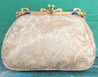 Antique Victorian Purse Frame Redone Gold Lace Textile - Gilded Brass & enamel Frame Set with Rhinestones c.1890s