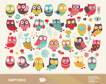 Owl clipart, owls clip art, floral clipart, flowers draw, vector printable, illustration butterflies spring drops colorful, commercial use.