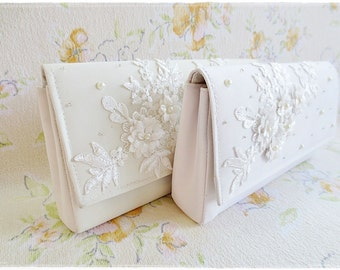 Ivory Clutch, Lace Clutch Purse, Beaded Clutch Purse, Satin Evening Purse, Bridesmaids Clutch wedding gift