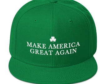 Green Make America Great Again Donald Trump St Patricks Day Hat With a Irish Shamrock