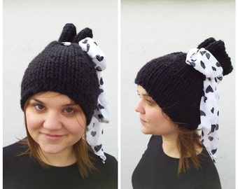 Black hat with big bow with hearts, OOAK, knit black hat, black and white hat, hat with bow, bow with hearts, paper bag hat, knitted hearts