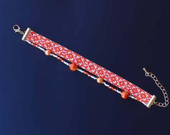 Loom Bracelet, Beaded Bracelet, Boho Bracelet, Orange bracelet