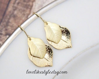 Two Tone of Gold Leaves Earrings, Bridesmaid Earrings,Birthday Gift, Leaves Eearrings, Bridal Gift,Style No.6029